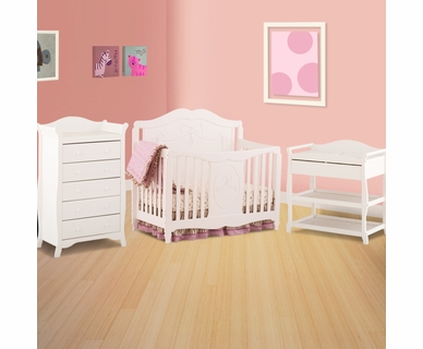 Storkcraft 3 Piece Nursery Set - Princess 4-in-1 Fixed Side Convertible Crib, Aspen Changing Table and Aspen 5 Drawer Dresser in White
