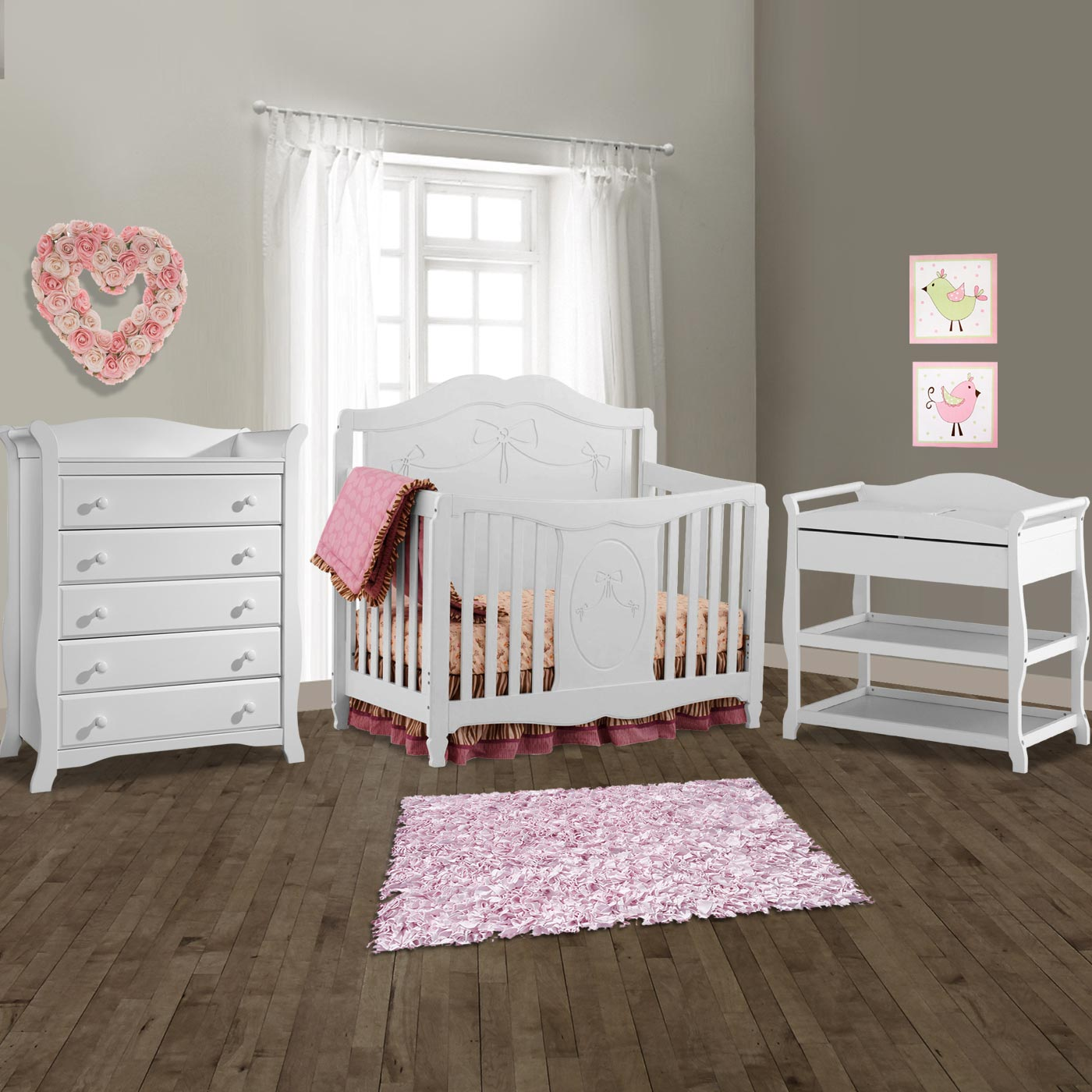 Storkcraft 3 Piece Nursery Set Princess Convertible Crib Aspen Changing Table And Avalon 5 Drawer Dresser In White Free Shipping