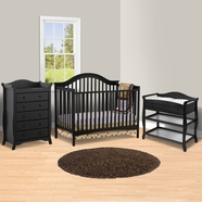 Storkcraft 3 Piece Nursery Set - Ravena Convertible Crib, Aspen Changing Table and Aspen 5 Drawer Dresser in Black