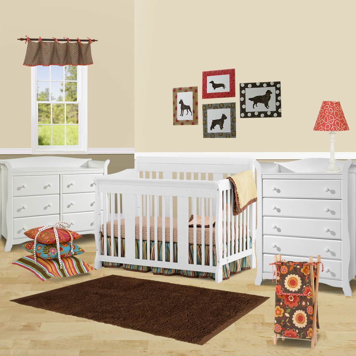 Storkcraft 3 Piece Nursery Set   Tuscany Convertible Crib, Avalon 5 Drawer  Dresser And 6 Drawer Dresser In White FREE SHIPPING