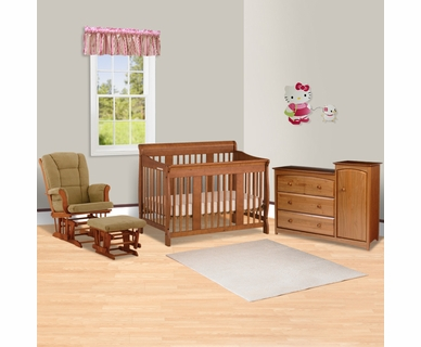Storkcraft 3 Piece Nursery Set - Tuscany Stages 4 in 1 Convertible Crib, Tuscany Glider and Ottoman, Beatrice Combo Dresser/Changer in Oak