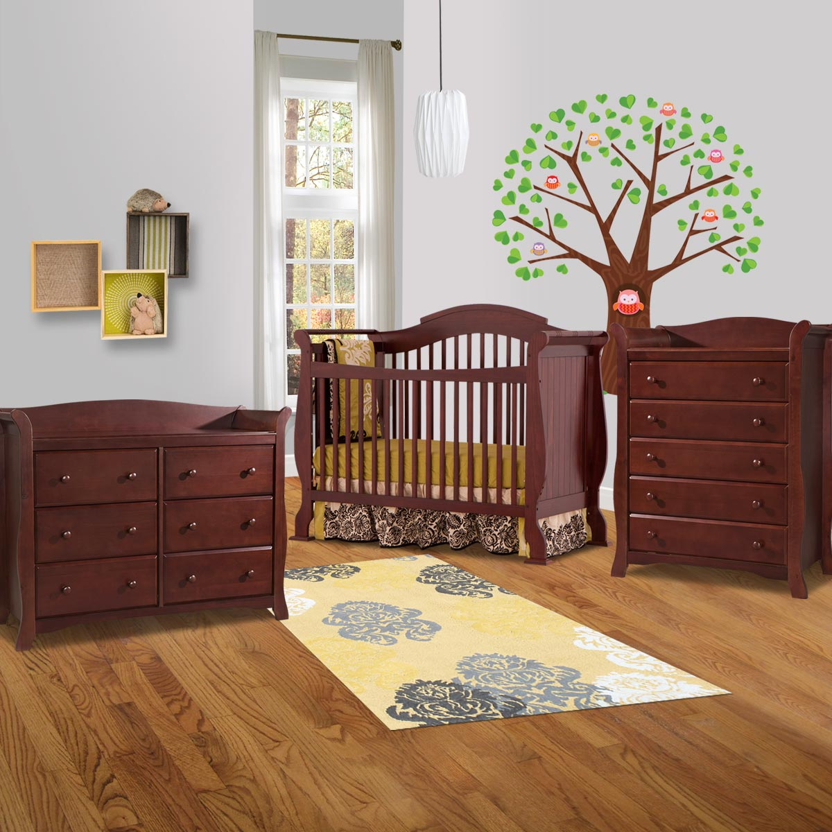 Storkcraft 3 Piece Nursery Set Valentia Convertible Crib Avalon 5 Drawer Dresser And 6 In Cherry Free Shipping