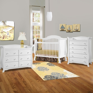 Storkcraft 3 Piece Nursery Set Valentia Convertible Crib Avalon 5 Drawer Dresser And 6