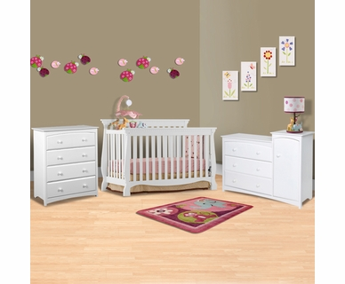 Storkcraft 3 Piece Nursery Set - Venetian 4 in 1 Convertible Crib, Beatrice Combo Dresser / Changer and Beatrice 4 Drawer Dresser in White