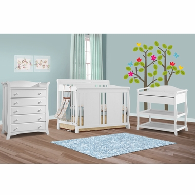 Storkcraft Aspen Changing Table ... Aspen Changing Table and Avalon 5 Drawer Dresser in White - Click to