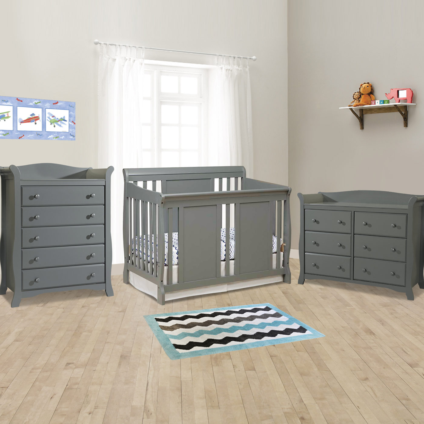 Storkcraft 3 Piece Nursery Set Verona Convertible Crib Avalon 5 Drawer Dresser And 6 In White Free Shipping