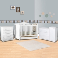 Storkcraft 3 Piece Nursery Set - Vittoria 3 in 1 Convertible Crib, Beatrice Combo Dresser / Changer and Beatrice 4 Drawer Dresser in White