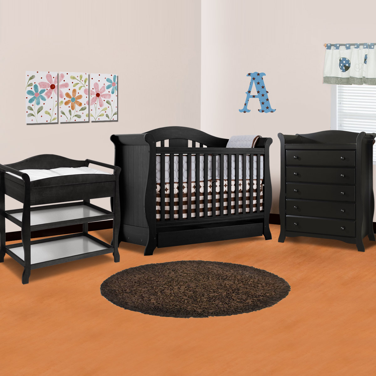 Storkcraft 3 Piece Nursery Set   Vittoria Convertible Crib, Aspen Changing  Table And Avalon 5 Drawer Dresser In Black FREE SHIPPING