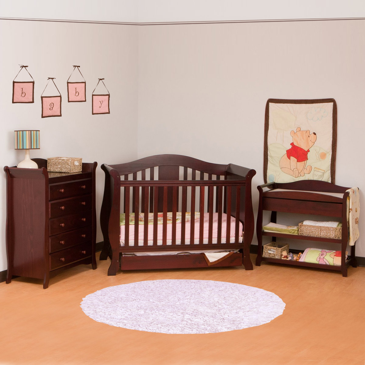 Storkcraft 3 Piece Nursery Set Vittoria Convertible Crib Aspen Changing Table And Avalon 5 Drawer Dresser In Cherry Free Shipping