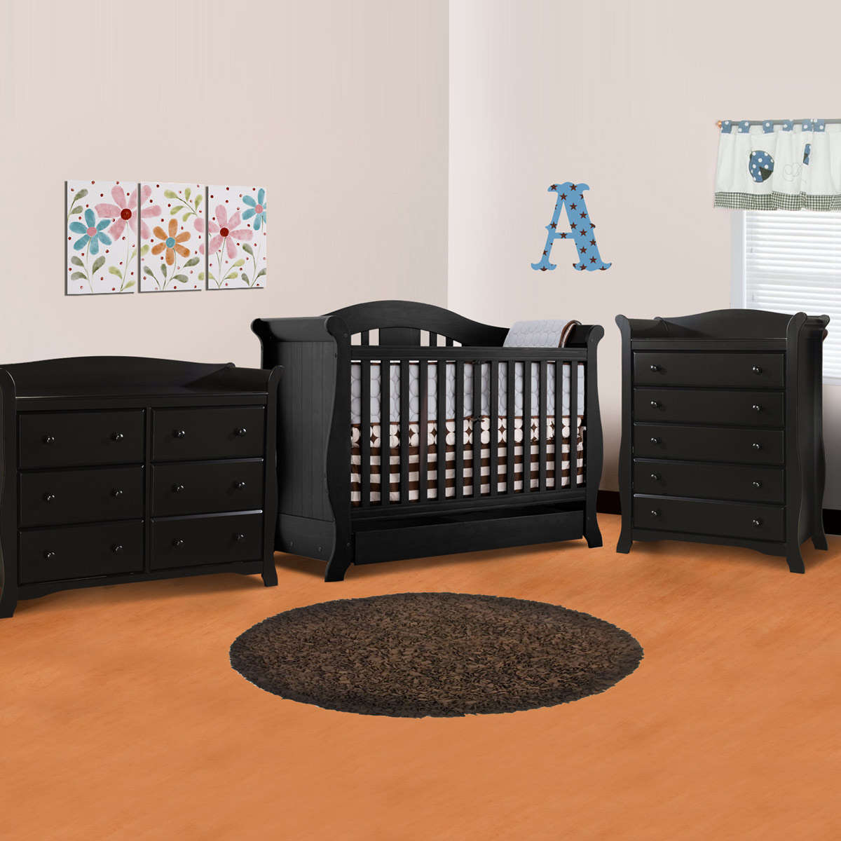Storkcraft 3 Piece Nursery Set Vittoria Convertible Crib Avalon 5 Drawer Dresser And 6 In Espresso Free Shipping