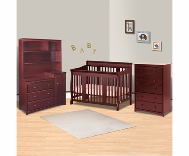 Storkcraft 4 Piece Nursery Set - Tuscany Stages 4 in 1 Convertible Crib, Beatrice Combo Dresser/Changer Tower, Beatrice Combo Hutch, 5 Drawer Dresser in Cherry