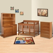 Storkcraft 4 Piece Nursery Set - Tuscany Stages 4 in 1 Convertible Crib, Beatrice Combo Dresser/Changer Tower, Beatrice Combo Hutch, 5 Drawer Dresser in Oak