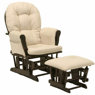 Storkcraft Bowback / Hoop Glider & Ottoman in Espresso - Click to enlarge