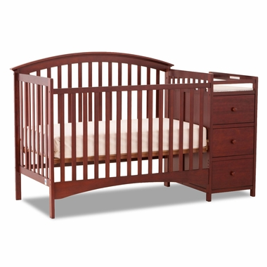 Storkcraft Bradford 4 in 1 Fixed Side Convertible Crib & Changer in Cherry - Click to enlarge
