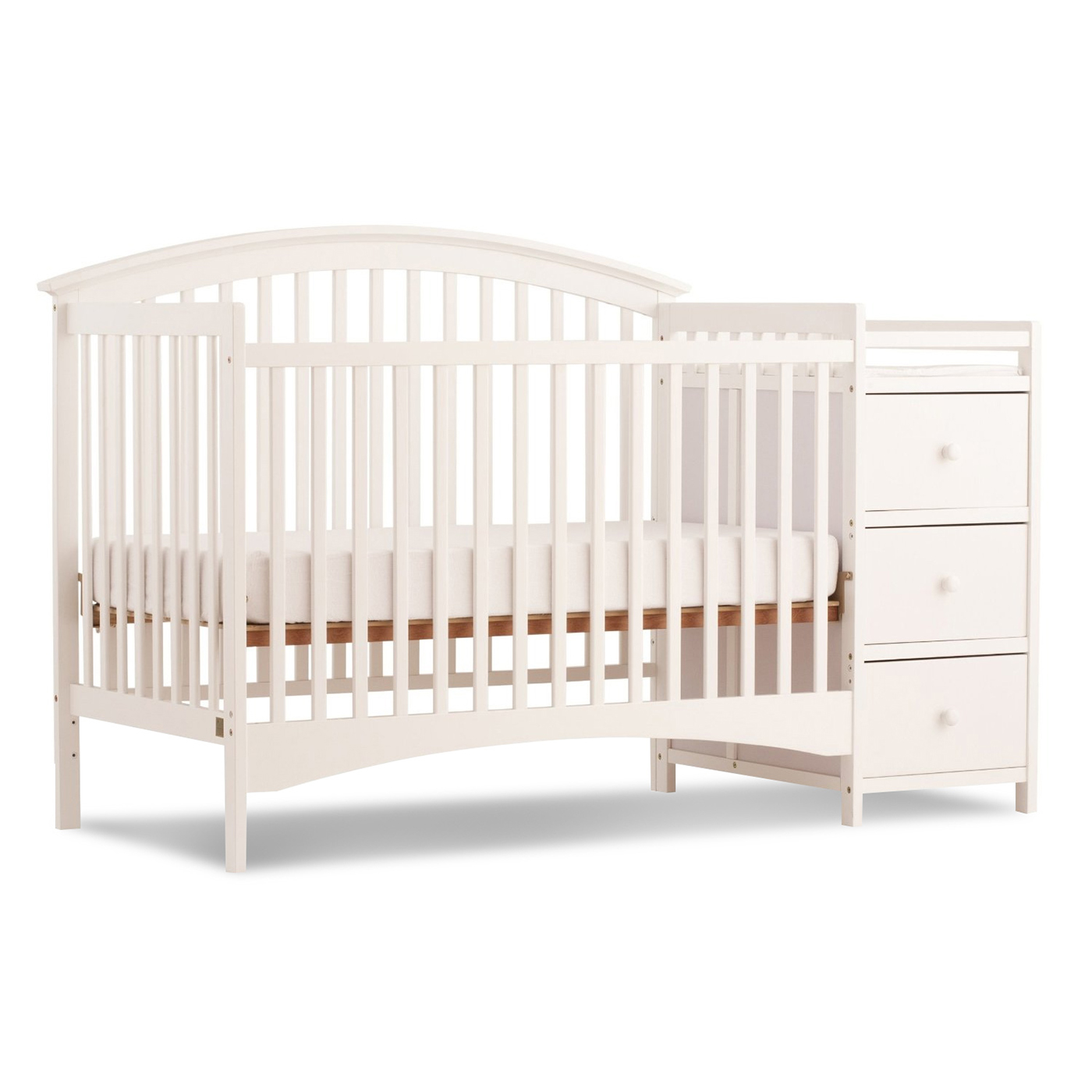 storkcraft bradford 4 in 1 fixed side convertible crib changer in white free shipping