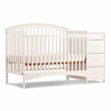 Storkcraft Bradford 4 in 1 Fixed Side Convertible Crib & Changer in White - Click to enlarge