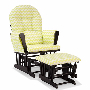 Storkcraft Hoop Custom Glider and Ottoman in Black and Citron Green Chevron - Click to enlarge