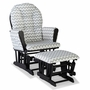 Storkcraft Hoop Custom Glider and Ottoman in Black and Gray Chevron