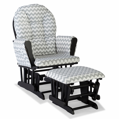 Storkcraft Hoop Custom Glider and Ottoman in Black and Gray Chevron - Click to enlarge