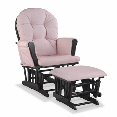 Storkcraft Hoop Custom Glider and Ottoman in Black and Pink Blush Swirl - Click to enlarge