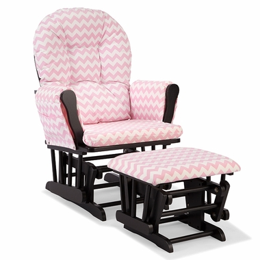 Storkcraft Hoop Custom Glider and Ottoman in Black and Pink Chevron - Click to enlarge