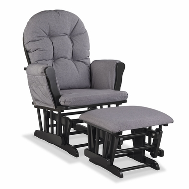 Storkcraft Hoop Custom Glider and Ottoman in Black and Slate Gray Swirl - Click to enlarge