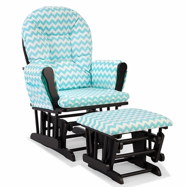 Storkcraft Hoop Custom Glider and Ottoman in Black and Turquoise Chevron - Click to enlarge