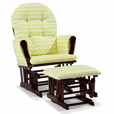 Storkcraft Hoop Custom Glider and Ottoman in Cherry and Citron Green Chevron - Click to enlarge