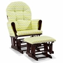 Storkcraft Hoop Custom Glider and Ottoman in Cherry and Citron Green Chevron