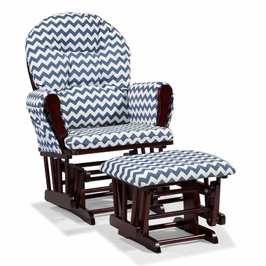 Storkcraft Hoop Custom Glider and Ottoman in Cherry and Navy Chevron - Click to enlarge