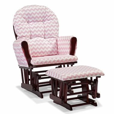 Storkcraft Hoop Custom Glider and Ottoman in Cherry and Pink Chevron - Click to enlarge