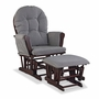 Storkcraft Hoop Custom Glider and Ottoman in Cherry and Slate Gray Swirl