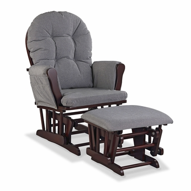 Storkcraft Hoop Custom Glider and Ottoman in Cherry and Slate Gray Swirl - Click to enlarge
