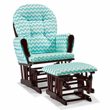 Storkcraft Hoop Custom Glider and Ottoman in Cherry and Turquoise Chevron - Click to enlarge