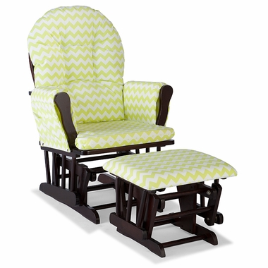 Storkcraft Hoop Custom Glider and Ottoman in Espresso and Citron Green Chevron - Click to enlarge