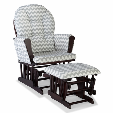 Storkcraft Hoop Custom Glider and Ottoman in Espresso and Gray Chevron - Click to enlarge