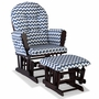 Storkcraft Hoop Custom Glider and Ottoman in Espresso and Navy Chevron