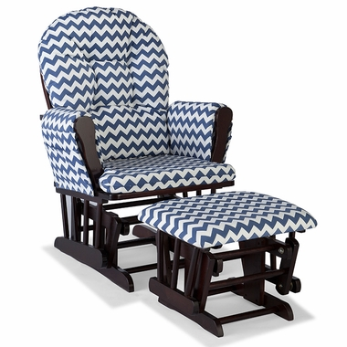 Storkcraft Hoop Custom Glider and Ottoman in Espresso and Navy Chevron - Click to enlarge