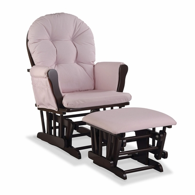 Storkcraft Hoop Custom Glider and Ottoman in Espresso and Pink Blush Swirl - Click to enlarge
