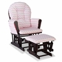 Storkcraft Hoop Custom Glider and Ottoman in Espresso and Pink Chevron