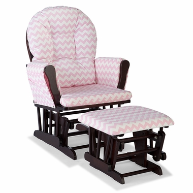 Storkcraft Hoop Custom Glider and Ottoman in Espresso and Pink Chevron - Click to enlarge