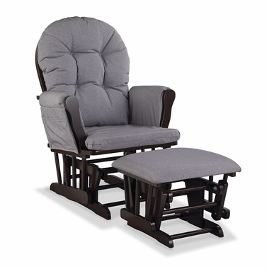 Storkcraft Hoop Custom Glider and Ottoman in Espresso and Slate Gray Swirl - Click to enlarge