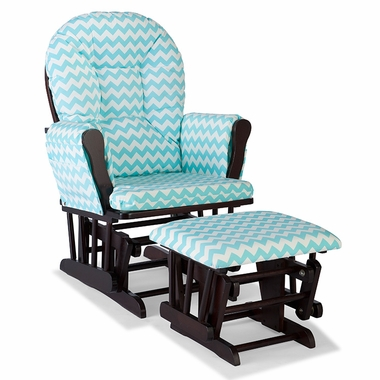 Storkcraft Hoop Custom Glider and Ottoman in Espresso and Turquoise Chevron - Click to enlarge