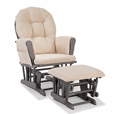 Storkcraft Hoop Custom Glider and Ottoman in Gray and Beige - Click to enlarge