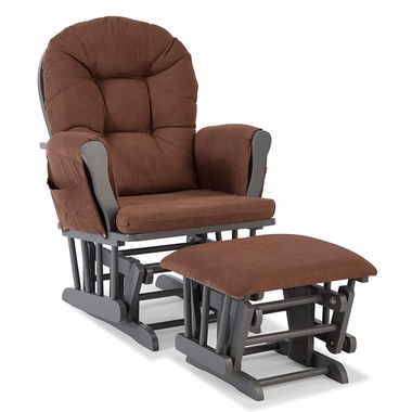 Storkcraft Hoop Custom Glider and Ottoman in Gray and Chocolate - Click to enlarge