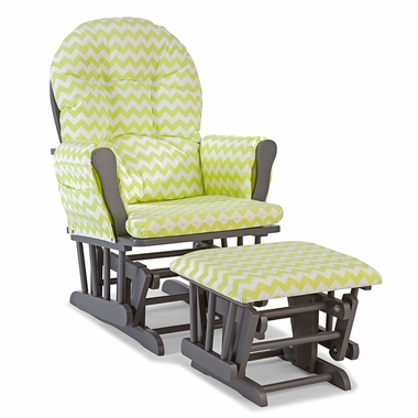 Storkcraft Hoop Custom Glider and Ottoman in Gray and Citron Green Chevron - Click to enlarge