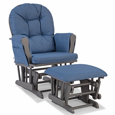Storkcraft Hoop Custom Glider and Ottoman in Gray and Denim - Click to enlarge