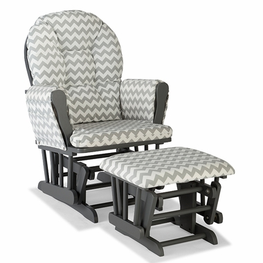 Storkcraft Hoop Custom Glider and Ottoman in Gray and Gray Chevron - Click to enlarge