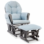Storkcraft Hoop Custom Glider and Ottoman in Gray and Light Denim