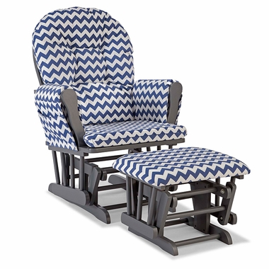 Storkcraft Hoop Custom Glider and Ottoman in Gray and Navy Chevron - Click to enlarge
